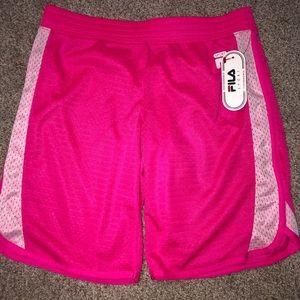 bright pink fila sport performance shorts